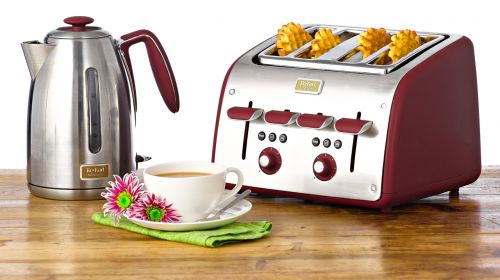 Morphy richards red accents kettle and toaster