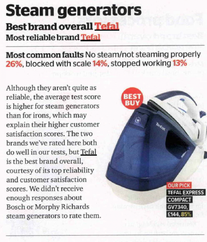 Tefal Wins Which? Best Overall Brand For Steam Generators